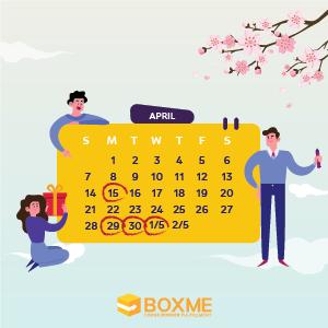Boxme thông báo lịch nghỉ lễ Giỗ Tổ Hùng Vương, 30/4 và 1/5/2019